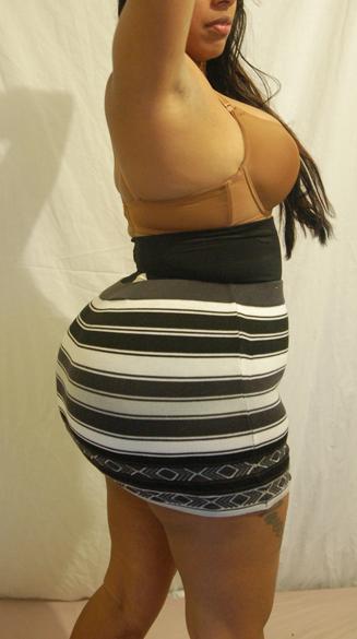 Big booty under skirt