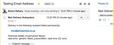 IMM delivery email failed