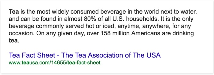 Popularity of Tea