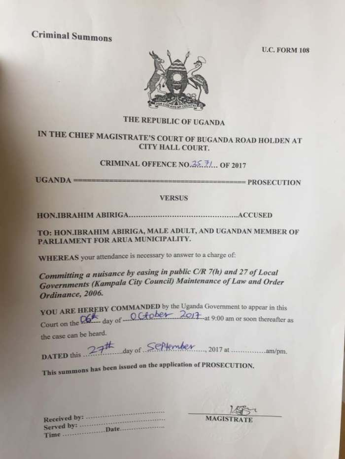 Abiriga Criminal Summons