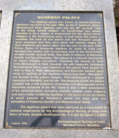 Aga Khan Gandhi Plaque