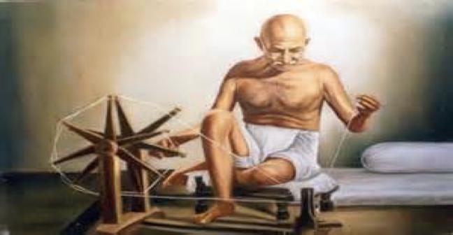Gandhi at the Loom